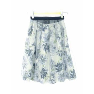【中古】ジャスグリッティー JUSGLITTY 2WAY フラワー プリント ジャガード スカート 0 チュール付き 青系 ブルー系