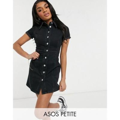 エイソス ミディドレス レディース ASOS DESIGN Petite denim fitted shirt dress in washed black エイソス ASOS ブラック 黒