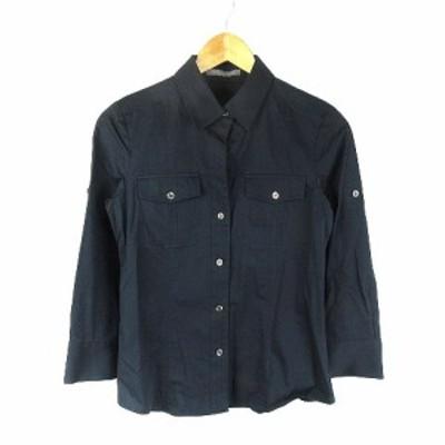【中古】セオリーリュクス theory luxe シャツ 七分袖 無地 40 黒 ブラック /CK レディース