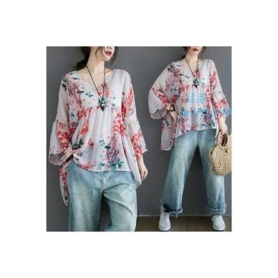 Tシャツ レディース 体型カバー 七分袖 新作 花柄 夏 プリント 通勤ファッション 着痩せ ゆったり 薄手 Vネック 大きいサイズ カジュアル パフスリーブ