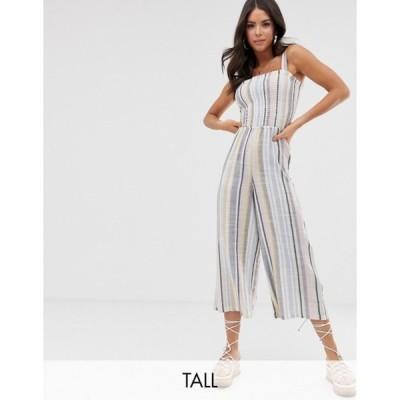 ニュールック レディース ワンピース トップス New Look Tall shirred jumpsuit in multi stripe