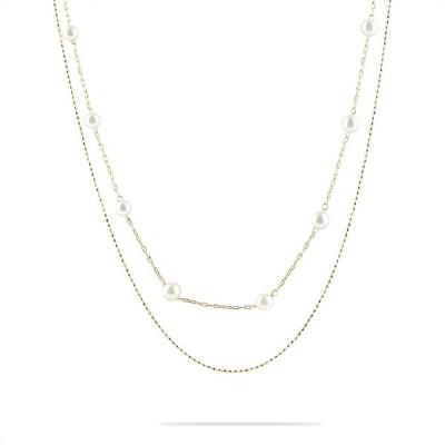 18金 ネックレス 2連 レディース アコヤ真珠 アズキチェーン スライド式 46cm ゴールド 18k イエローゴールドk18 ハート あすつく 送料無料