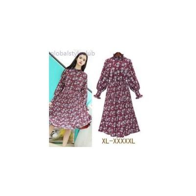 ワンピース レトロ 花柄 デザイン トレンド 大きいサイズ 春物 レディース 女性 長袖 膝丈 赤