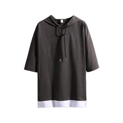 Infabe Tシャツ ファッション メンズ 短袖 ゆったり 夏 パーカー バットシャツ 無地 軽い 柔らかい シルエット (ダックグレー M)