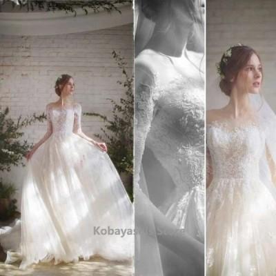 ボートネック結婚式ドレウェディングドレストレーンホワイトドレス花嫁お洒落ブライダルドレスAラインドレス柔らか