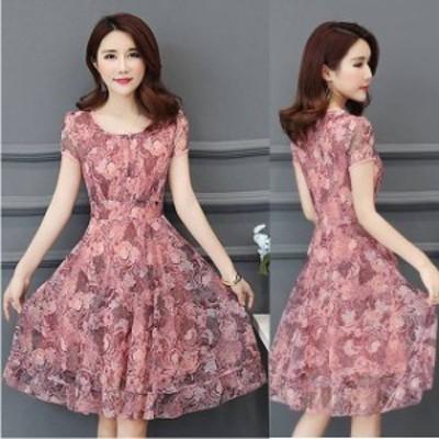 パーティードレス 結婚式 二次会 お呼ばれ ワンピース 袖あり お呼ばれドレス ドレス 20代 30代 40代 大きいサイズ 花柄