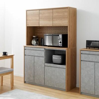 食器棚 おしゃれ 日本製 国産 キッチンボード キッチン収納 キャビネット 幅120cm 電子レンジ台 棚 炊飯器 ナチュラル 大容量 引き出し ロウヤ LOWYA