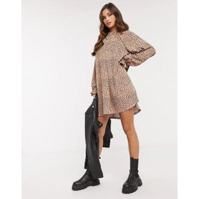 エイソス レディース ワンピース トップス ASOS DESIGN mini dress with frill neck spot swing dress in camel and black spot