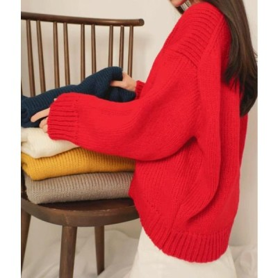 MIXXMIX レディース ニット/セーター ESSAYRound Neck Solid Tone Knit Top