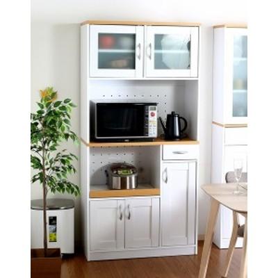 食器棚 おしゃれ 北欧 安い キッチン 収納 棚 ラック 木製 大容量 カップボード ダイニングボード  ナチュラル×ホワイト 幅88 奥行39 高