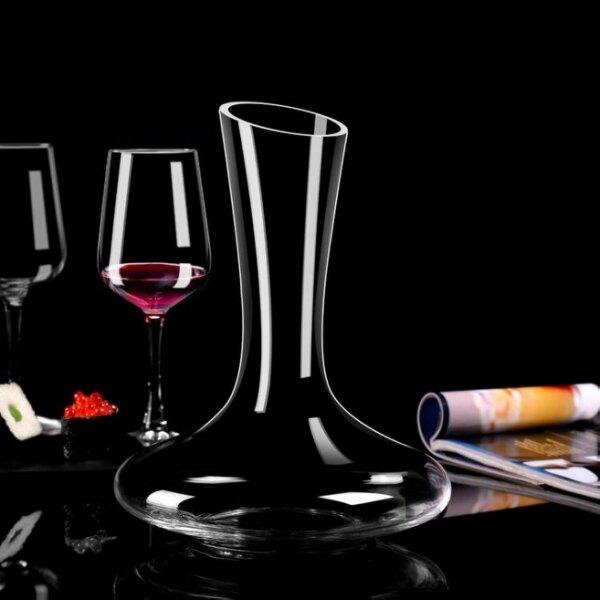 醒酒器 無鉛高檔水晶豎琴醒酒器天鵝U型紅酒杯異形分酒器音符酒具調酒器[優品生活館]