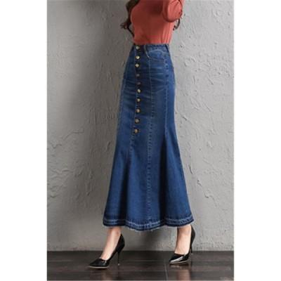 デニムスカートレディース 文芸style タイト マーメイドライン 美しいライン ロング丈スカート 大きいサイズ 着痩せマキシ丈 おしゃれ