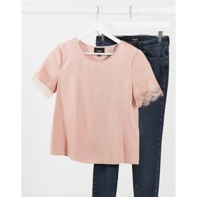オブジェクト レディース シャツ トップス Object Eileen lace trim slinky top in pink