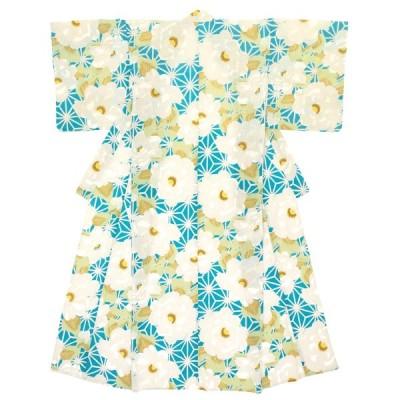 浴衣 レディース 青 ブルー 緑 牡丹 麻の葉 花 フラワー モダン 綿 絽 変わり織り 夏祭り 女性用 仕立て上がり