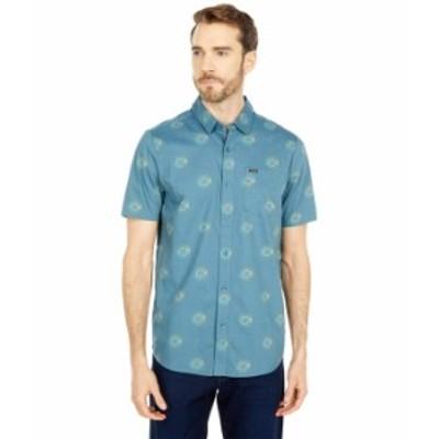 ボルコム メンズ シャツ トップス Inner Valley Short Sleeve Button-Up Rincon Blue