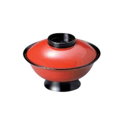 越前漆器 和食器 / (A)低型大名椀 朱つば黒5寸 寸法:15 x 9.8cm 420cc