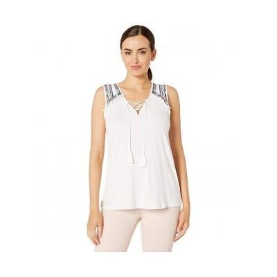 Tribal トリバル レディース 女性用 ファッション ブラウス Sleeveless Embroidered Jersey Top - White