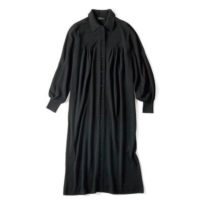 ホールガーメント 襟付き ニットワンピース ブラック 3:LL−3
