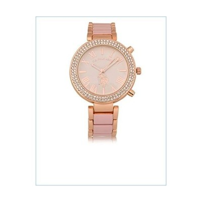 U.S. Polo Assn. Women's Rose-Gold Stainless Steel Quartz Watch with Alloy Strap, Silver, 18 (Model: USC40220)並行輸入品