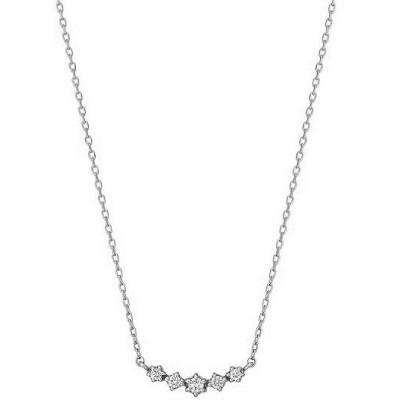 ネックレス ダイヤモンドキラキラ5セキネックレス( WG)
