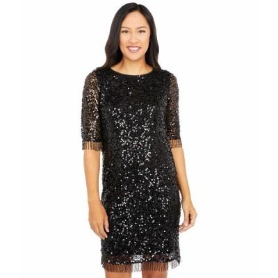 テイラー ワンピース トップス レディース All Over Sequins on Mesh A-Line Dress with Beaded Fringe Trim Black