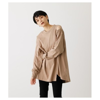 (AZUL by moussy/アズールバイマウジー)SHOULDER SLIT LOOSE L/S TEE/レディース BEG