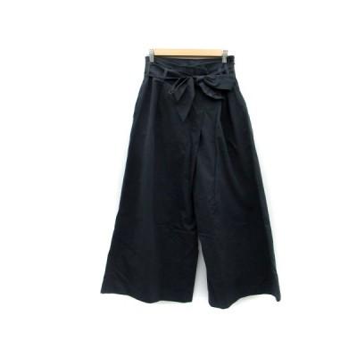 【中古】ロッソ ROSSO アーバンリサーチ パンツ ワイド アンクル丈 リボン付き 36 ネイビー 紺 /MS6 レディース 【ベクトル 古着】
