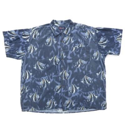 総柄 半袖シャツ ブルーベース サイズ表記:3X