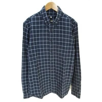 【中古】リーバイス Levi's MADE&CRAFTED ボタンダウン ネルシャツ 長袖 チェック 柄  紺 ネイビー 1 メンズ 【ベクトル 古着】