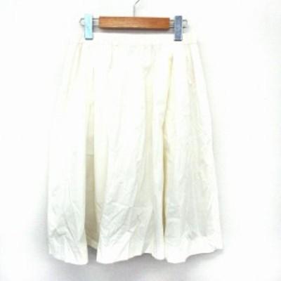 【中古】ゼロエイトサーカス 08SIRCUS スカート フレア 膝丈 ウエストゴム 無地 シンプル ペチコート付き 1 ホワイト