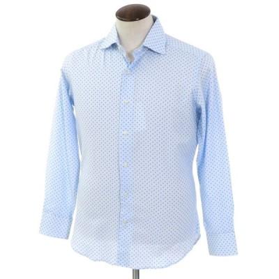 未使用 クイード QJD 小紋柄 プリント コットン ワイドカラーシャツ サックス×ブルー 40