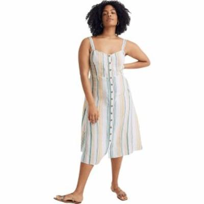 メイドウェル Madewell レディース ワンピース ミドル丈 ワンピース・ドレス Linen Fitted-Bodice Midi Dress in Stripe Pale Parchment