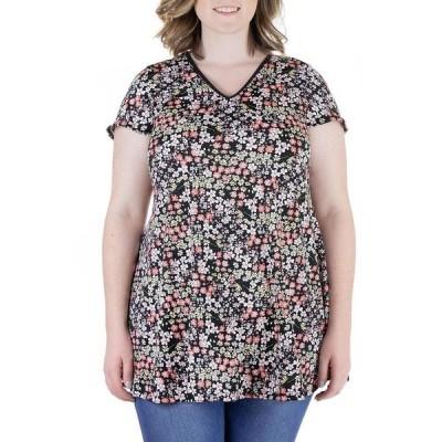 24セブンコンフォート レディース シャツ トップス Plus Size Pink Floral Short Sleeve V Neck Tunic Top