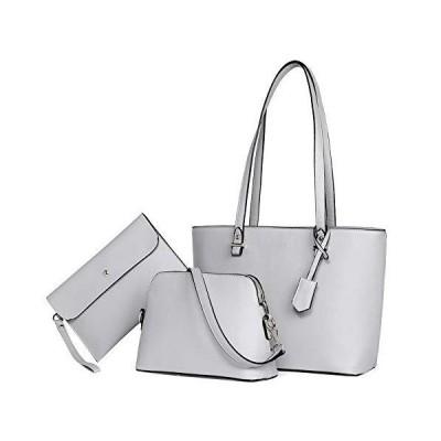 BROMEN Womens Handbag Leather Tote ladies handbags Top Handle Shoulder Bag 3pcs Set Grey 並行輸入品