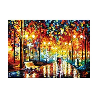 HANDONTIME 1000 Pieces Wooden Jigsaw Puzzles for Adults Kids Rainy Night Wa