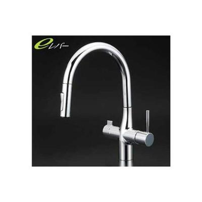 KVK KM6081V11EC 浄水器専用シングルレバー式シャワー付混合栓(グース)eレバー