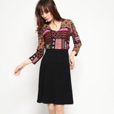 デシグアル Desigual ドレス3/4袖 (グレー/ブラック)