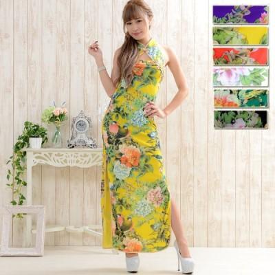魅せるドレス フラワーパワーネットロングチャイナドレス コスプレ  ハロウィン