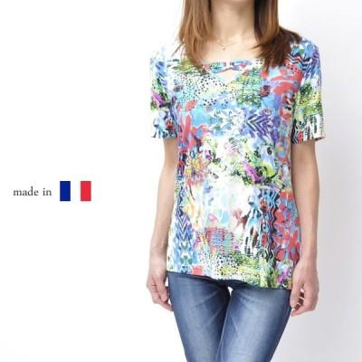 フランス製 レディース 高級Tシャツ 高級 ミセスファッション ミセスカジュアル 女性 プレゼント 50代 60代 カットソー Vネック 鮮やか 大きいサイズ