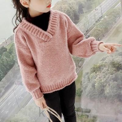 韓国子供服おしゃれニットセーターキッズ女の子切り替えトップスジュニアミックスニット可愛い秋冬ニットトップス