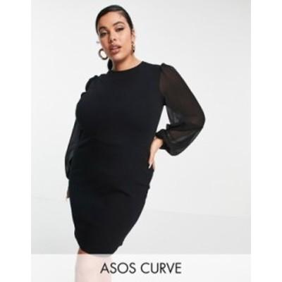 エイソス レディース ワンピース トップス ASOS DESIGN Curve mini dress with sheer long sleeves in black Black