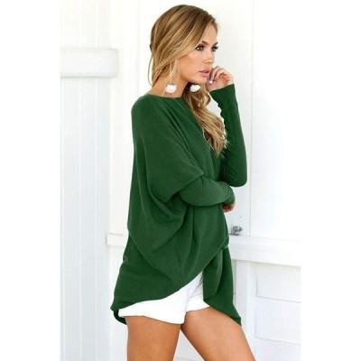 LETSRUNWILD Women's Round Neck Oversized Sweaters Long Batwing Sleeve