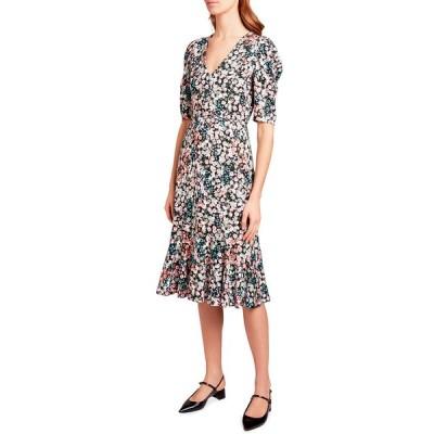 アーデム レディース ワンピース トップス Floral Print Jersey Button-Front Dress