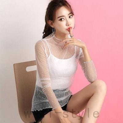 レディースTシャツカットソーブラウス透け素材透け感長袖トップスブラックホワイトMLXLサイズ