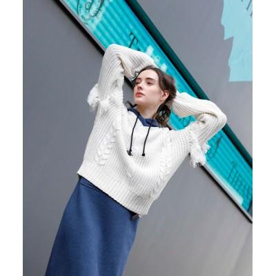 aimoha / フリンジケーブルニット WOMEN トップス > ニット/セーター