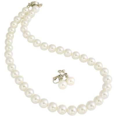 One&Only Jewellery 10mm 高級本貝パール フォーマル 2点セット ネックレス & イヤリング 真珠 パール 6月 誕生