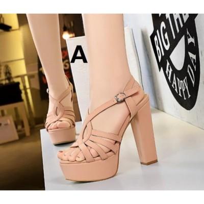 上品 2色 ハイヒール オープントゥ キャバ嬢 サンダル パンプス レディース 13CMくらいヒール 太いヒール 靴 痛くない 二次会 20代30代40代