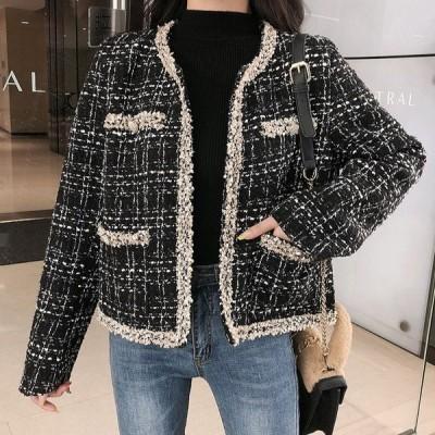 ツイードジャケット レディース ノーカラージャケット アウター ブラック 黒 フォー マル セレモニー 20代 30代 40代