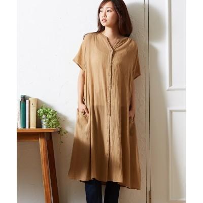 涼しい綿楊柳 シャツワンピース (ワンピース)Dress