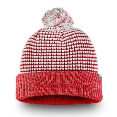 ユニセックス スポーツリーグ ホッケー Detroit Red Wings Fanatics Branded Waffle Heavy Cuffed Knit Hat With Pom - White/Red - OSFA